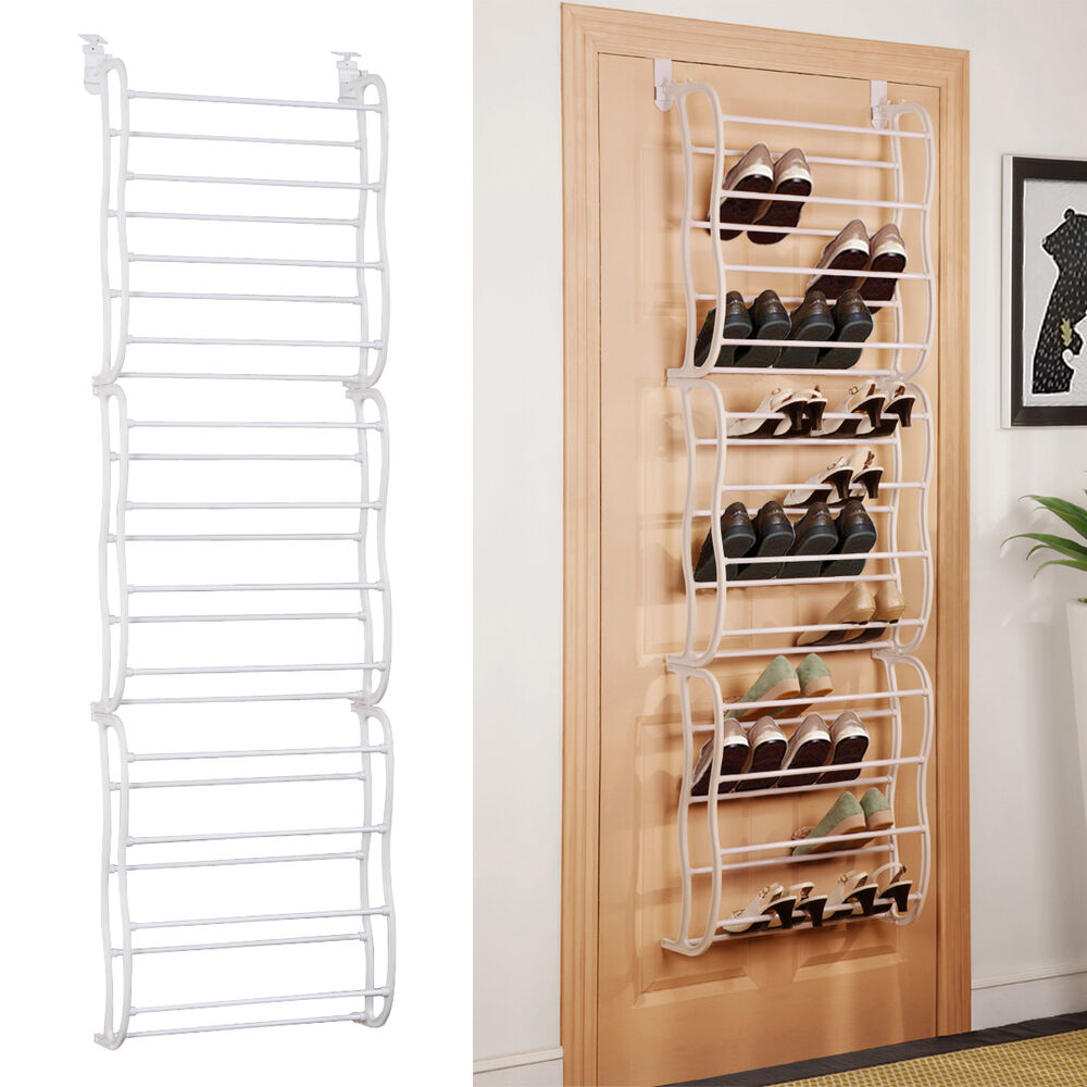 White 36Pair Over-The-Door Shoe Rack Wall Hanging Closet