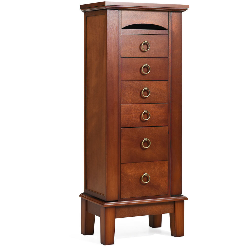 Wood Jewelry Cabinet Armoire Storage Box Chest Stand ...