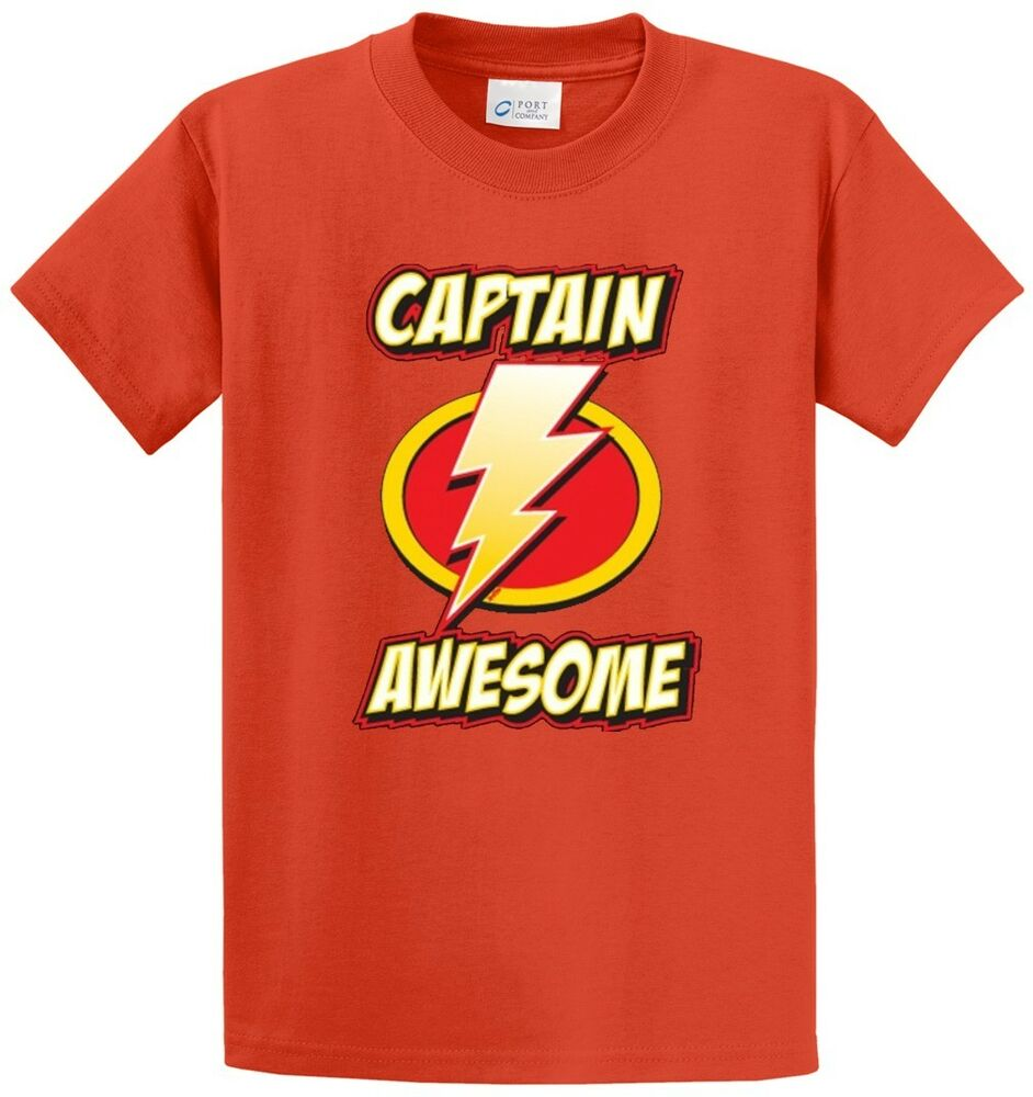 Captain awesome printed tee shirt in regular and big and for Big and tall printed t shirts