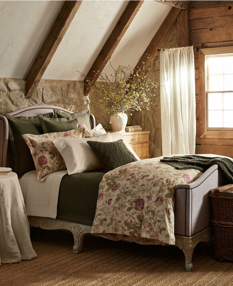 ralph lauren wilton rose king 110 x 96 floral multi comforter 355 display ebay. Black Bedroom Furniture Sets. Home Design Ideas