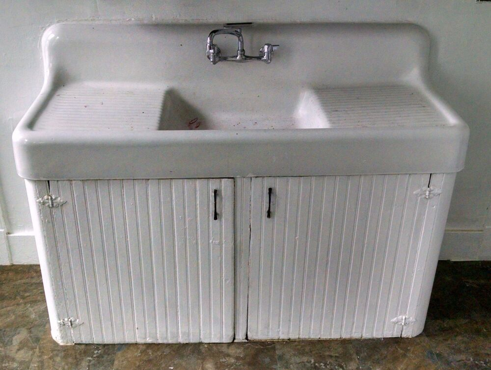 Vintage double drain board Cast Iron Farm Farmhouse Kitchen Sink Antique drop