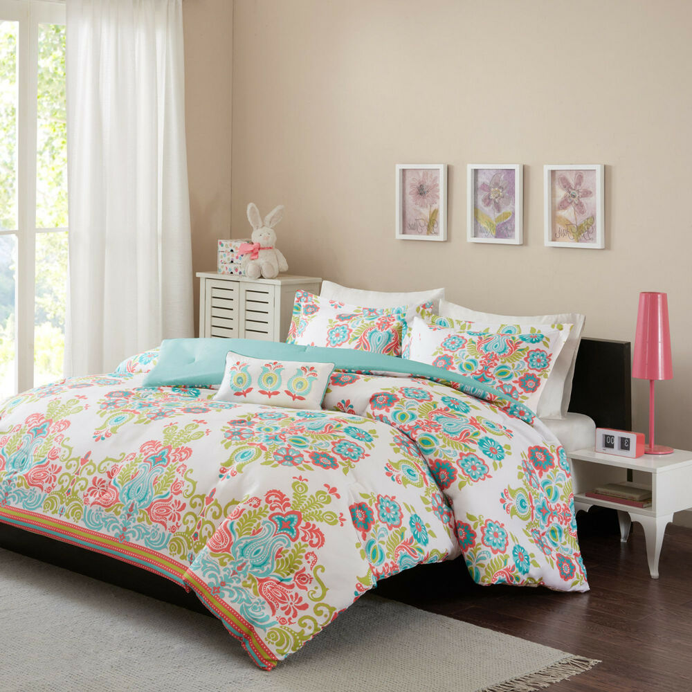 Girls Full Size Comforter Set Coral Teal Blue Damask