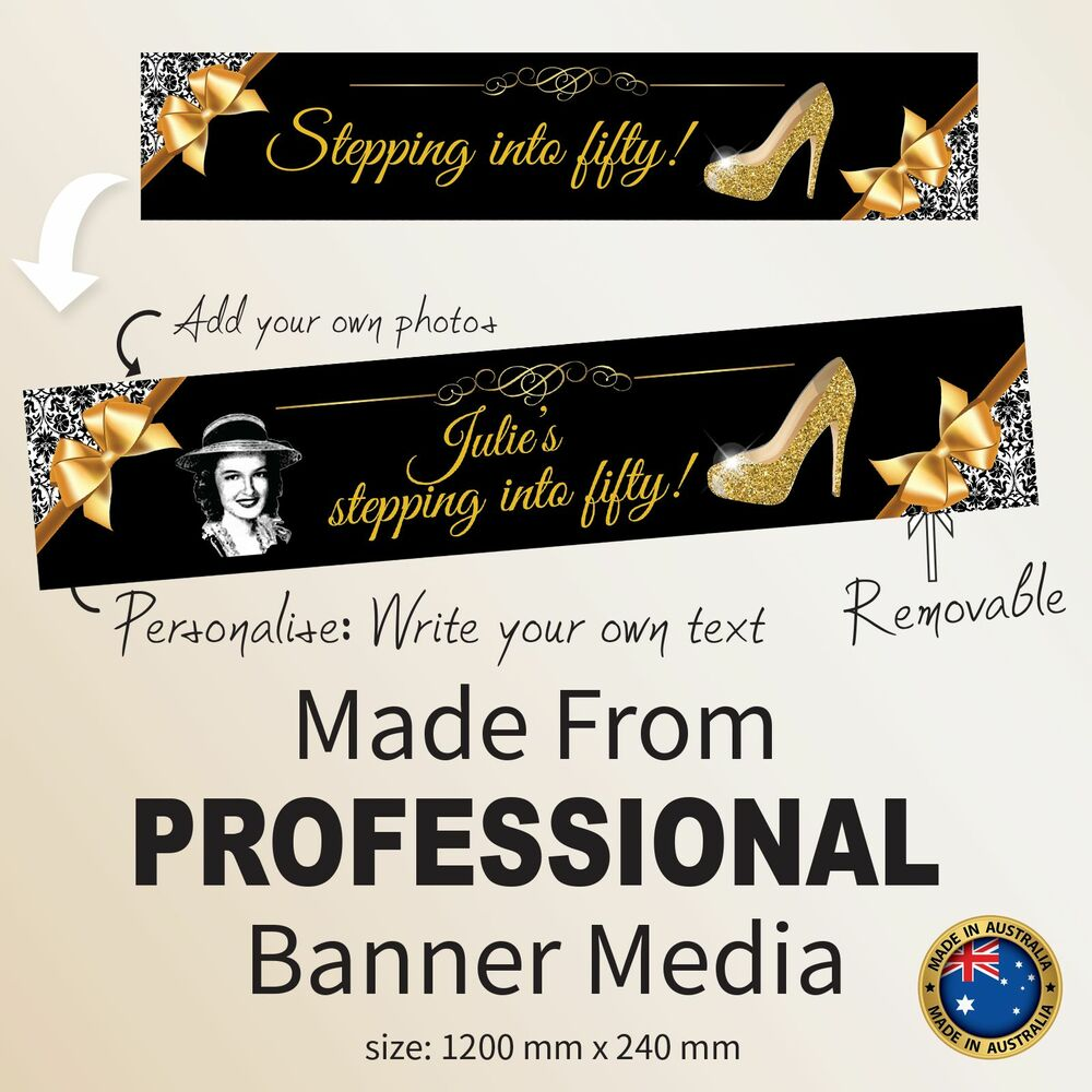 stepping fifty 50th birthday fabric party banner. Black Bedroom Furniture Sets. Home Design Ideas
