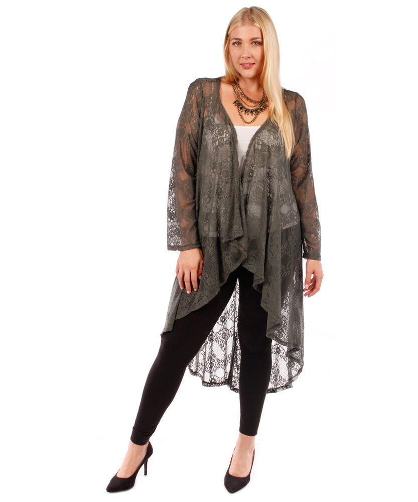 Long Olive Green Lace Open Cardigan~Plus Size~NWOT~1X 2X ...