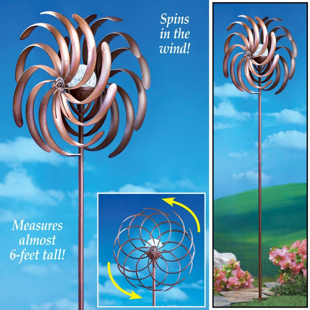 New Solar Lighted Outdoor Metal Wind Spinner W Glass