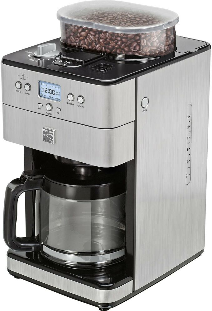 Automatic Drip Coffee Maker History : Kenmore Elite Kitchen 12 Cup Automatic Drip Coffee Bean Grinder And Brewer Maker eBay