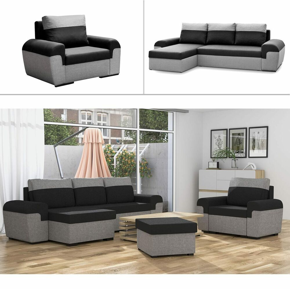 Polstergarnitur johanna mit schlaffunktion ecksofa sofagarnitur sessel hocker ebay for Sessel mit schlaffunktion