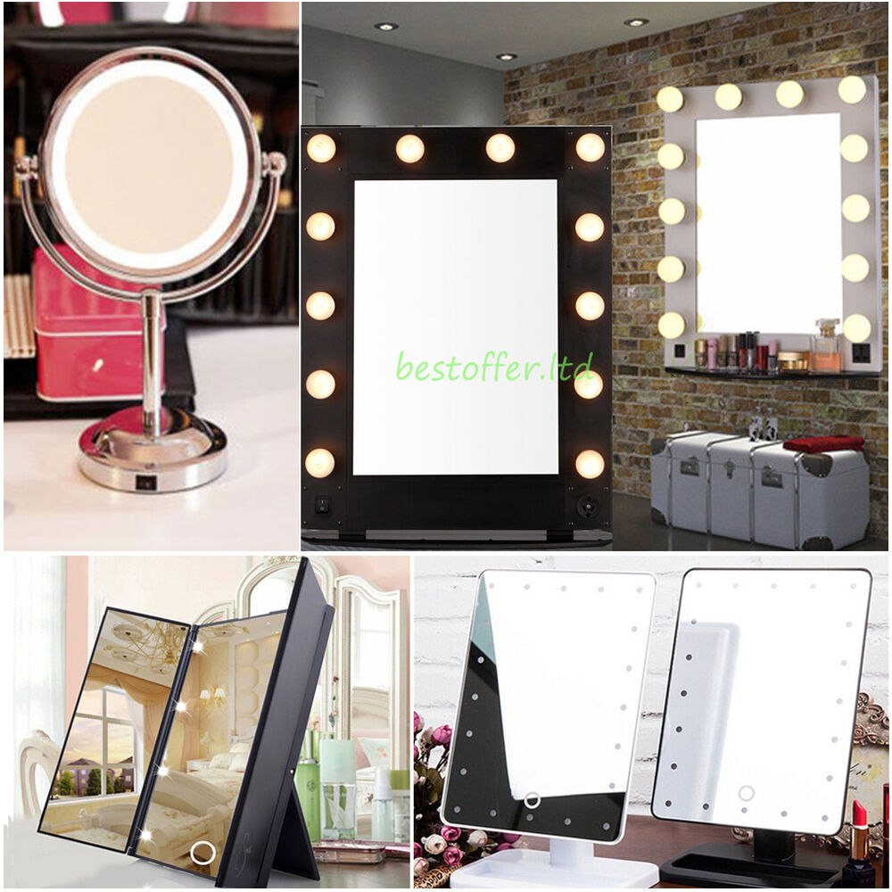 new vanity lighted hollywood makeup mirror round square tabletop cosmetic mirror ebay. Black Bedroom Furniture Sets. Home Design Ideas