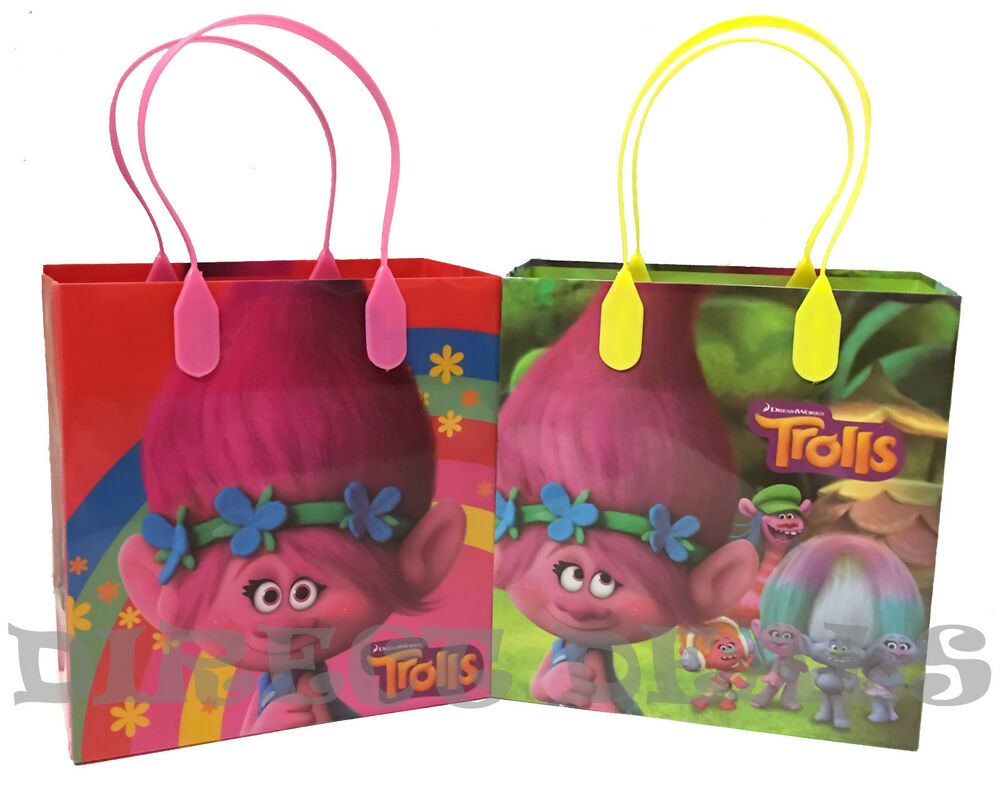 trolls party favors gift bags 6 pcs candy sack loot. Black Bedroom Furniture Sets. Home Design Ideas