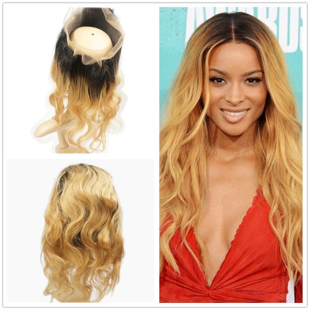 360 Lace Frontal Closure Brazilian Virgin Human Hair Ombre