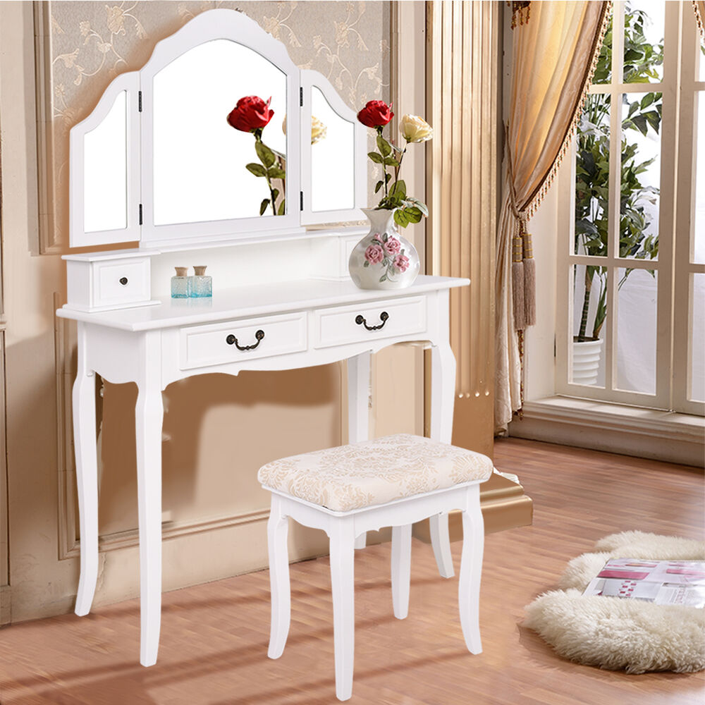 Tri Folding Mirror Vanity Makeup Table Set Bedroom W/Stool ...