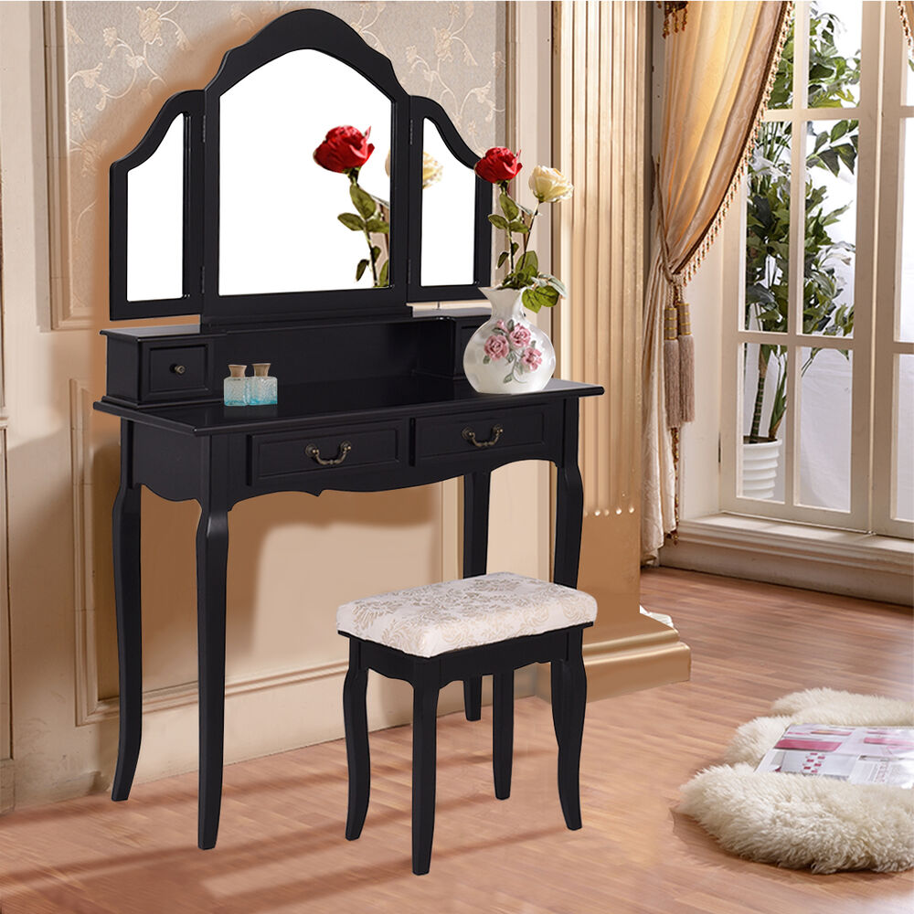 Tri folding mirror vanity makeup table set bedroom w stool for Mirror vanity