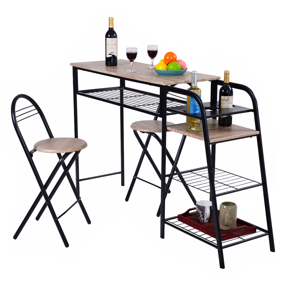 3 pc pub dining set table chairs counter height home for Storage dining table and chairs