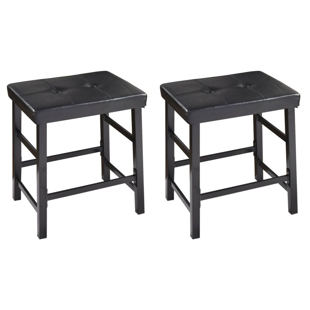 Set Of 2 Pu Leather Stools Backless Pub Bar Kitchen Dining