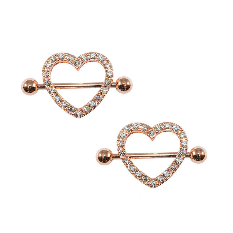 rose gold heart nipple ring 14g ion plated with gems 1pair On nipple piercing jewelry gold