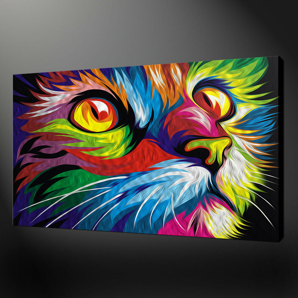 ABSTRACT CAT WALL ART CANVAS PRINT PICTURE VARIETY OF