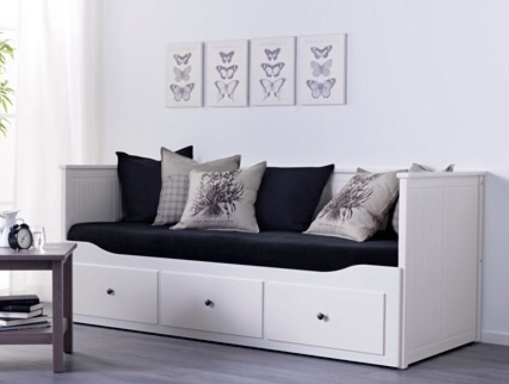 Ikea hemnes white 3in1 day bed sofa single double bed for Single divan bed with storage drawers