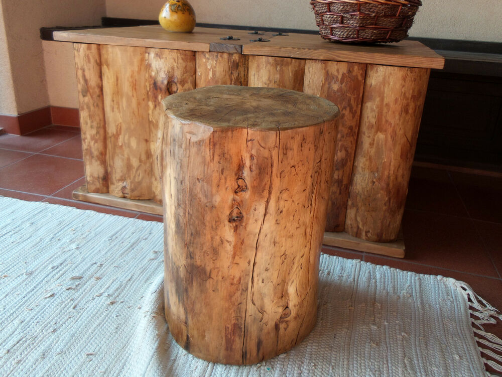 Brown Rustic Pine Log Tree Stool Living Room Kitchen Chair