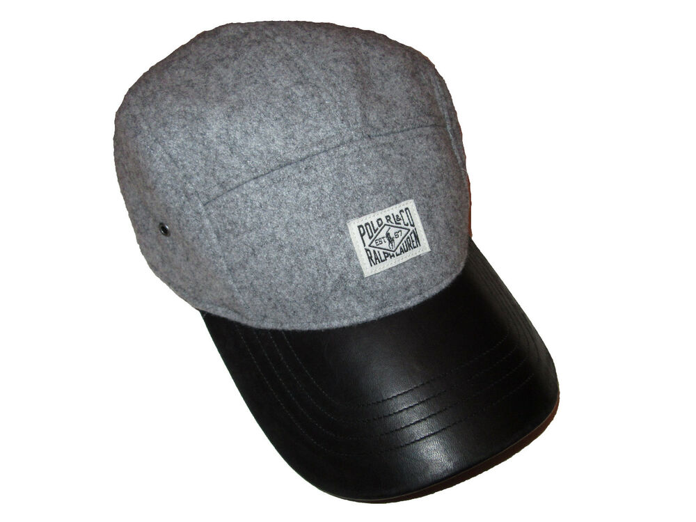 Details about Polo Ralph Lauren Gray Wool Blend Black Leather Brim Panel  Cap Hat 5f61fe53d3b