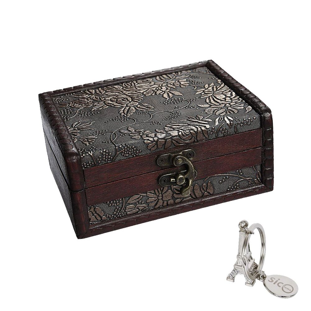Wooden Jewelry Box Storage Vintage Small Treasure Chest