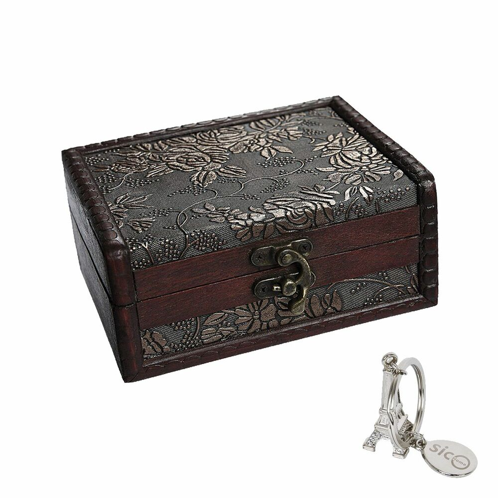 wooden jewelry box storage vintage small treasure chest wood crate case gift new ebay. Black Bedroom Furniture Sets. Home Design Ideas
