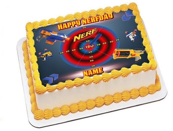 Edible Cake Decoration Sheets : Nerf Inspired Personalize Edible Image Sheets Cake Toppers ...