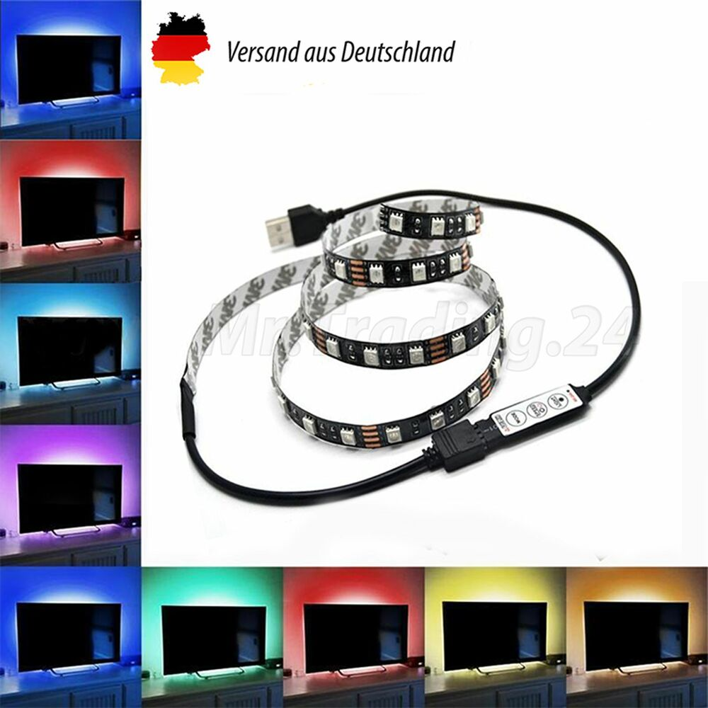 tv rgb led usb 2 meter fernseher backlight hintergrund beleuchtung samsung sony ebay. Black Bedroom Furniture Sets. Home Design Ideas