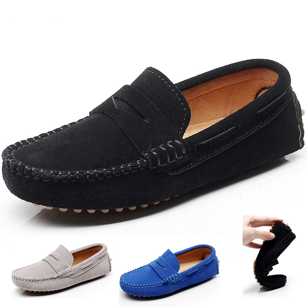 New Kids Boys Girls Moccasins Loafer Shoes Suede Leather Slip-on Stripe Loafers | EBay