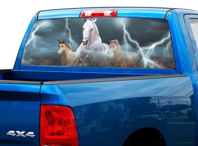 P419 Horse Lightning Rear Window Tint Graphic Decal Wrap