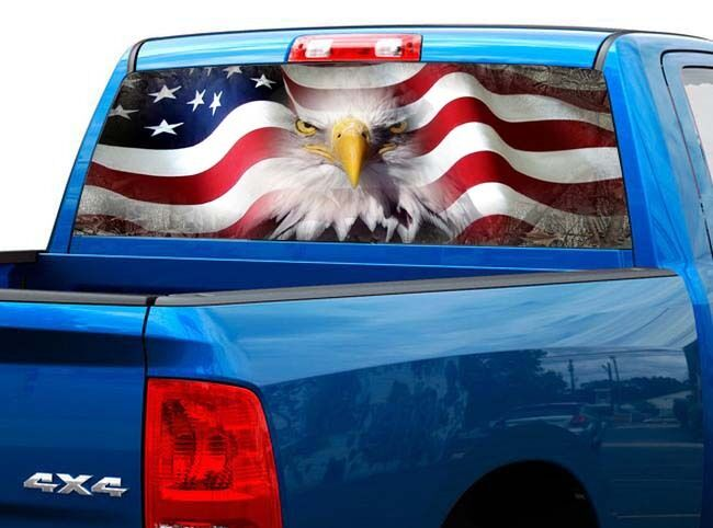 P423 American Flag Eagle Rear Window Tint Graphic Decal