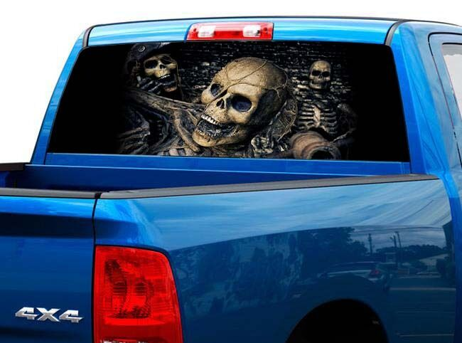 P485 Pirate Skull Rear Window Tint Graphic Decal Wrap Back