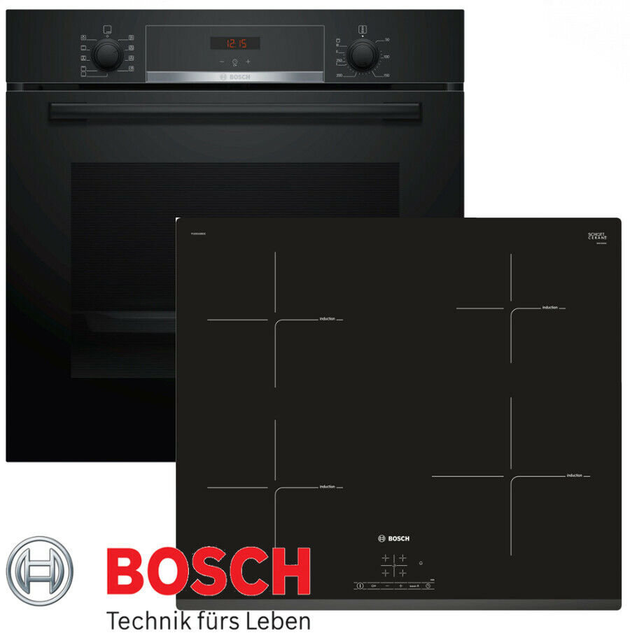 induktion herd set bosch einbau backofen umluft schwarz. Black Bedroom Furniture Sets. Home Design Ideas