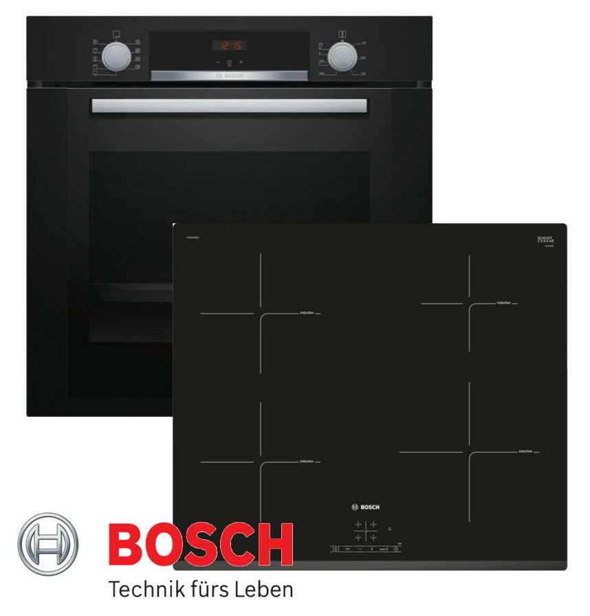 induktion herd set bosch einbau backofen umluft schwarz induktion kochfeld neu ebay. Black Bedroom Furniture Sets. Home Design Ideas