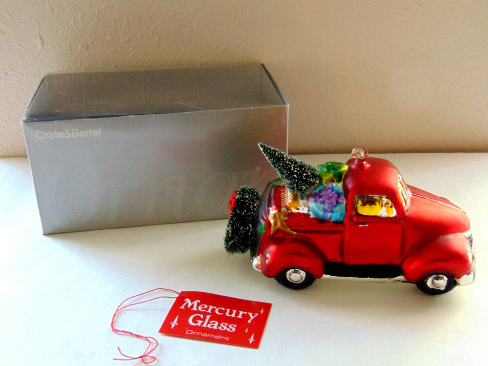 DEPT 56 CRATE & BARREL Big Blown Glass Red Truck Christmas ...