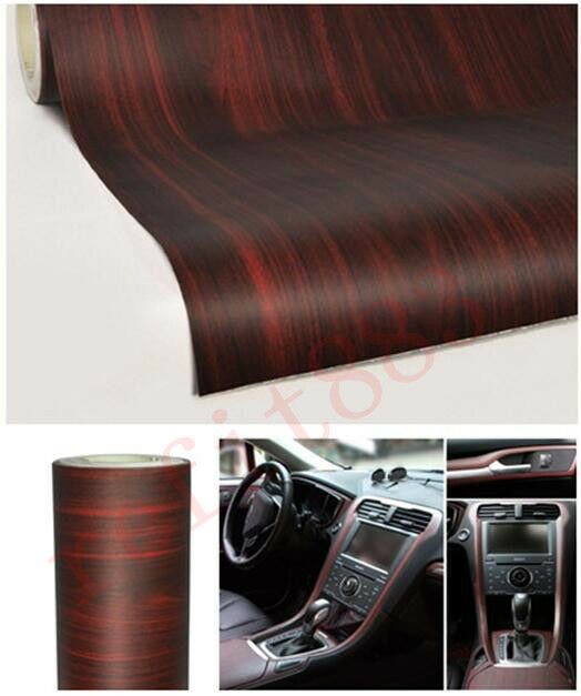 teak red car wood grain texture interior decorative sticker vinyl decal ebay. Black Bedroom Furniture Sets. Home Design Ideas