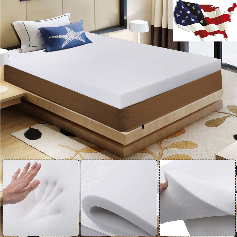 3 queen size memory foam mattress pad bed topper 80 x60 x3 us stock ebay. Black Bedroom Furniture Sets. Home Design Ideas