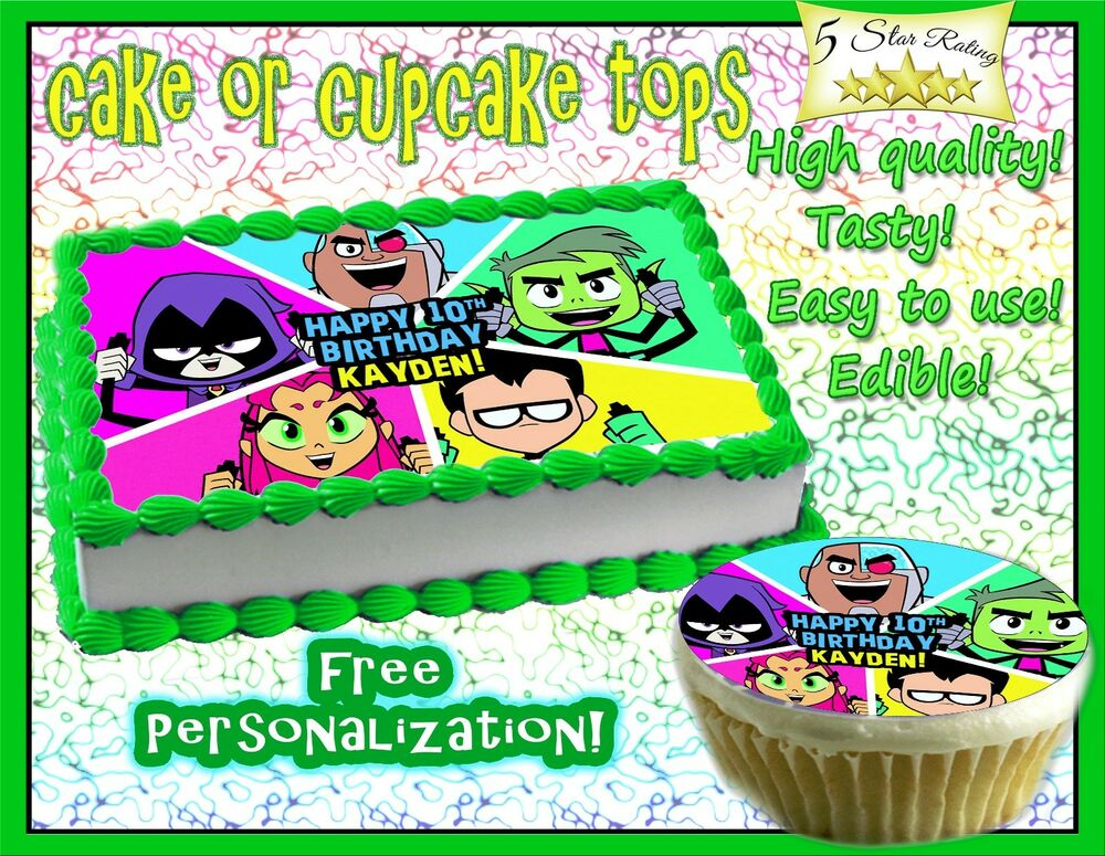 Teen Titans Go Birthday Cake Topper Edible Icing Image