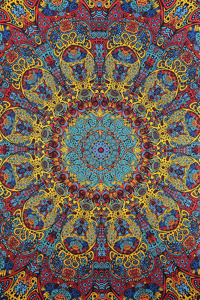 3d Psychedelic Sunburst Art Wall Tapestry Free Glasses