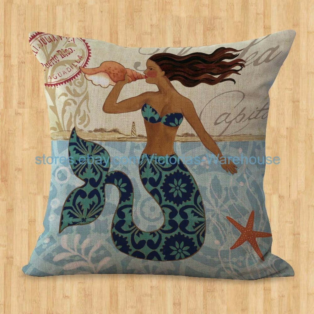 Us seller pillow cushion covers for sofa mermaid cushion for Sofa cushion covers ebay