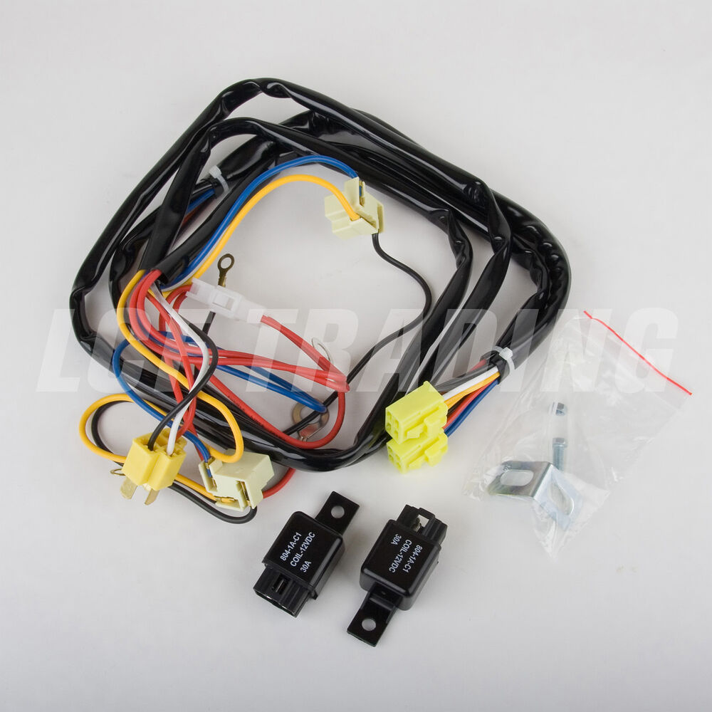 oem h4 headlight relay wiring harness system 4 headl light bulb headlight tune up kit h4 14 awg relay harness | ebay