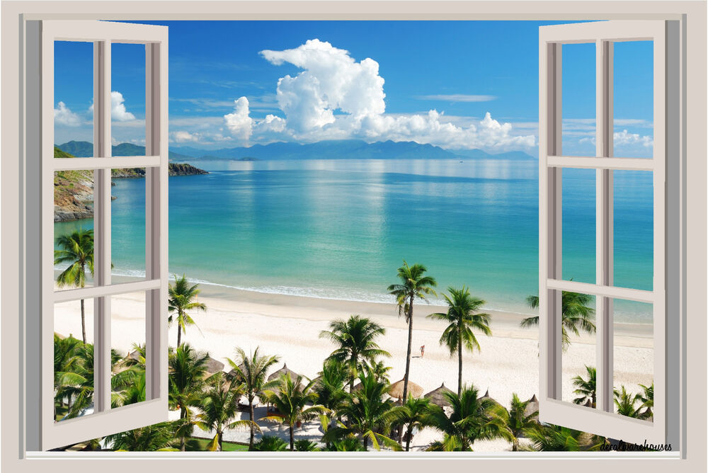 Beach ocean palm trees window view color wall sticker for Beach view wall mural