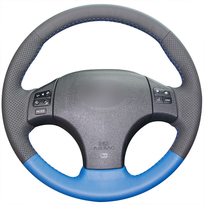 Black Top Leather Steering Wheel Hand-stitch On Wrap Cover
