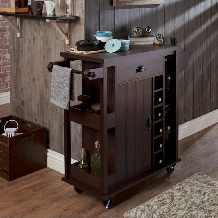 Home Bar Furniture Liquor Storage Cabinet Serving Cart On Wheels Wine Rack Wood Ebay
