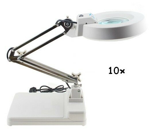 10x Magnifier Led Lamp Light Magnifying White Glass Lens