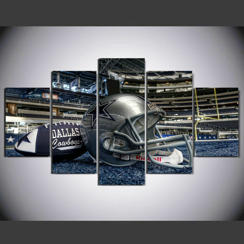 5 Panel Dallas Cowboys Canvas Prints Painting Wall Art Nfl