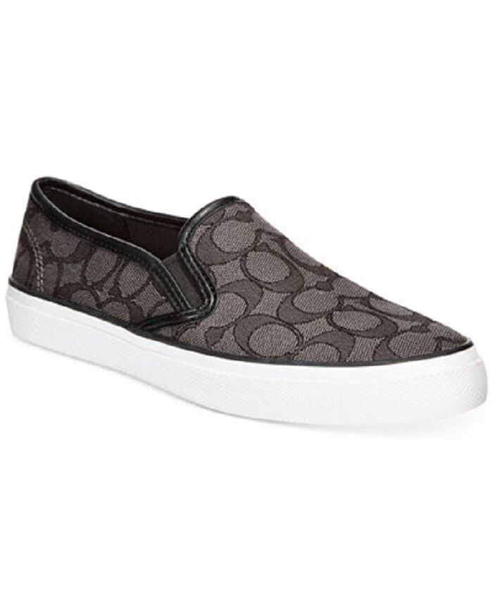 new coach chrissy slip on sneakers black flat canvas
