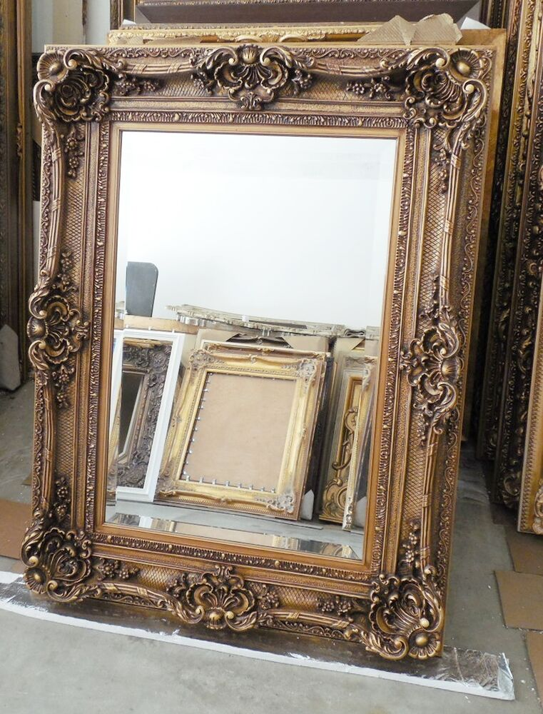 Large wood resin louis xv 36x60 rectangle beveled framed for Large wall mirror wood frame