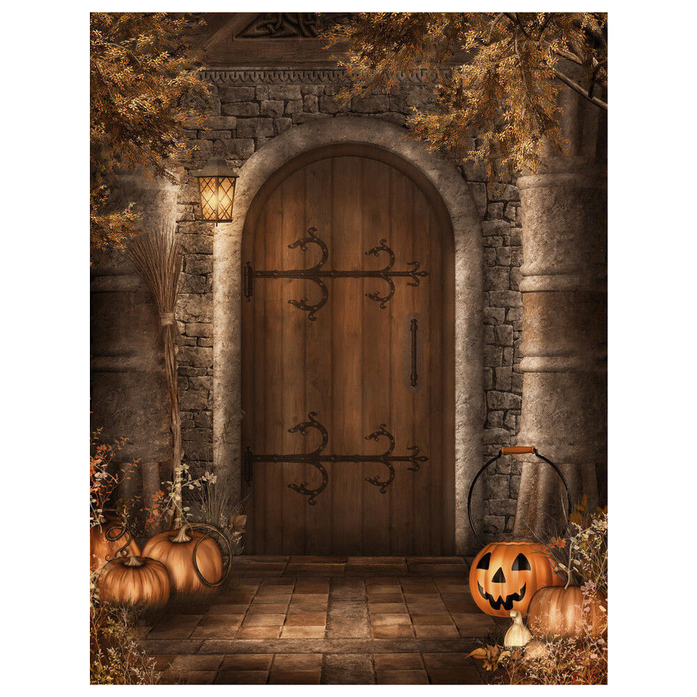 Halloween Vinyl Photography Backdrop Retro Door Photo