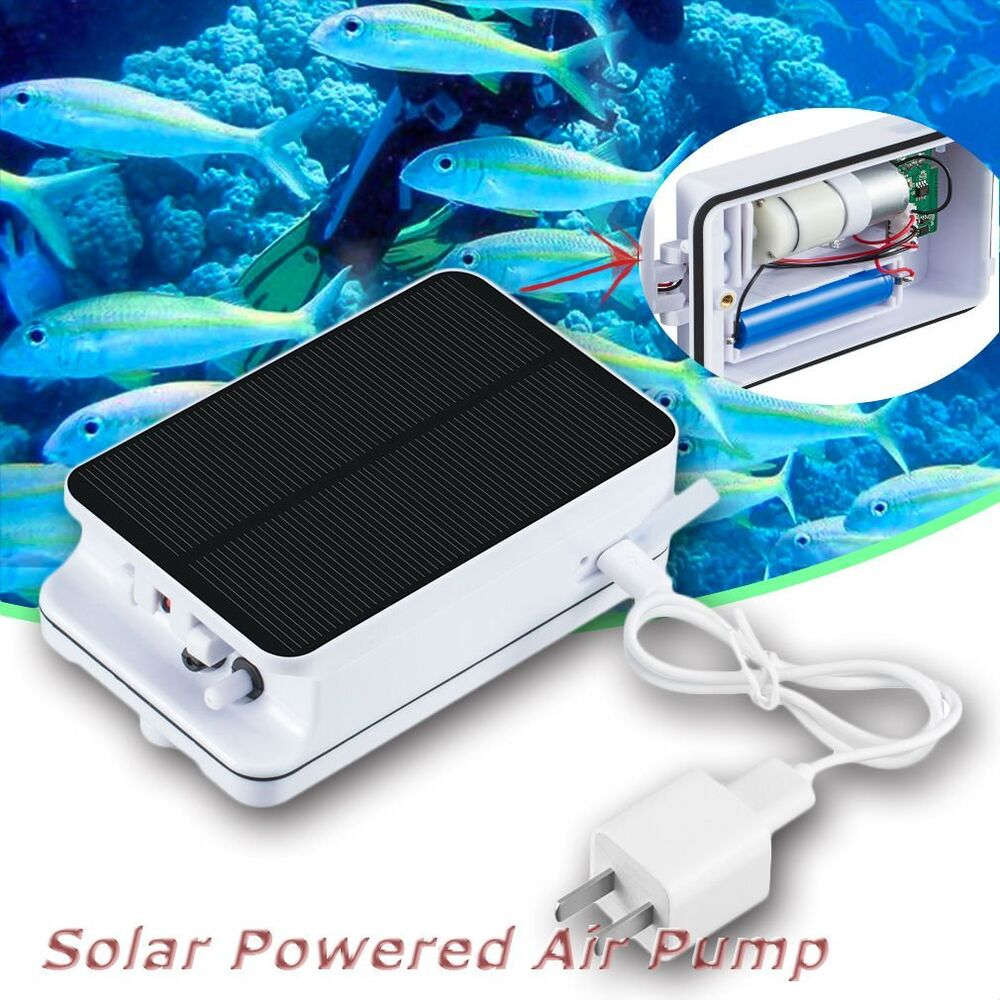 Solar Powered Portable Pool Pond Fish Tanks Oxygenator Oxygen Aerator Air Pump L Ebay