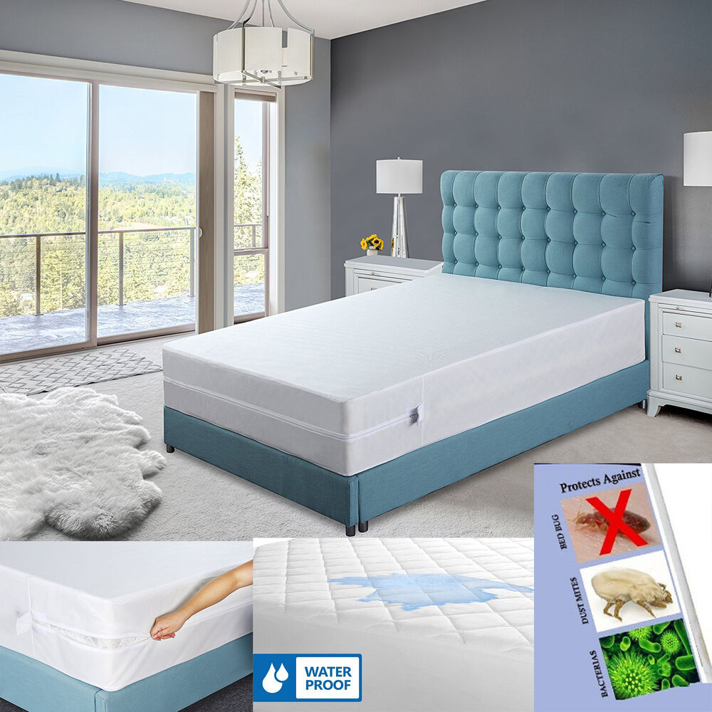 Zippered mattress cover box spring encasement water proof for Bed bug mattress and box spring cover sets